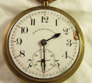 21J Time Ball Special 18 Size Railroad Pocket Watch