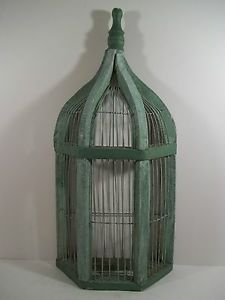 Wooden Wire Wall Mount Bird Cage Vintage Shabby Country Chic Look Decor