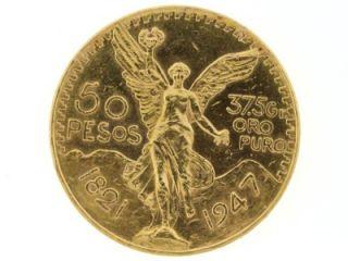 1947 Estados Unidos Mexicanos 37 5 GR Oro Puro 50 Pesos Mexico Gold Coin