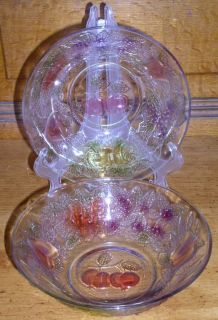 """Set of Two Firna Indonesia Clear Glass Colored Fruit Embossed 7"""" Bowls"""