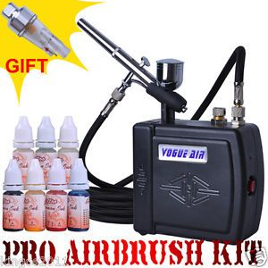 Black Color Airbrush Spray Paint Ink Air Compressor Kit Makeup Body Tattoo Hobby