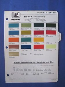 1971 Chevrolet Corvette GMC Truck Paint Chip Chart
