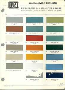 1963 1964 Chevy Truck Color Chip Paint Sample Chart Brochure R M