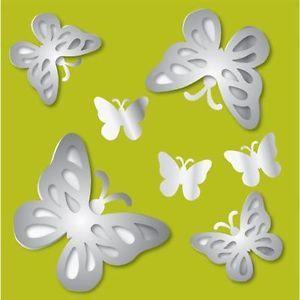 Mirror Art 3D Butterfly Wall Stickers 7 Butteflies Room Decor Decals Girls BR2