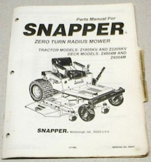 Snapper Mid Mount Zero Turning Riding Mower Parts Manual Models 1805 2205