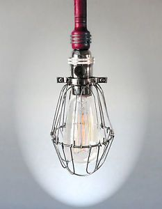 Industrial Red Cage Light Edison Bulb Pendant Light Fixture