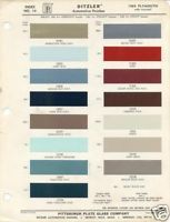 1964 Plymouth PPG Paint Color Charts 64 Fury Belvedere