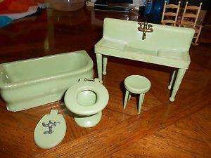 Goldilocks Doll House Furniture Antique Vintage Style 1930's Painted Sink Bath