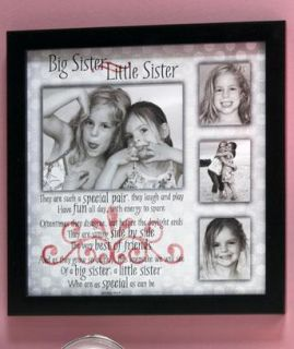 New Little Sister Big Sister Sibling Collage Picture Frame with Sentimental Poem
