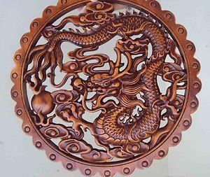 Camphorwood Wood Carving Dragon Sculpture Statue Wall Hanging Plaque Screen