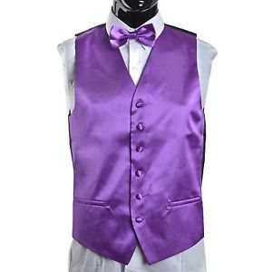 YXJ0MENS Suit Tuxedo Dress Vest Necktie Bow Tie Handkerchief Set Purple L 40 42