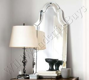 """Large Frameless Elise Wall Mirror Beveled Arched 42"""" Arch Bathroom New"""