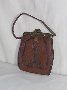 1915 Arts Crafts Jemco Ladies Tooled Leather Purse Handbag