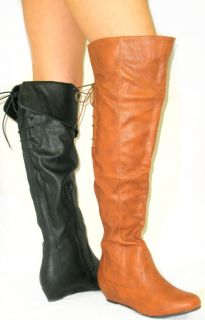 So Cute Fold Over Cuff Low Flat Wedge Riding Boots Tall Thigh High Over Knee
