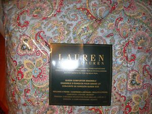 4 PC Ralph Lauren Tara Paisley Blue Queen Comforter Set 1st Quality