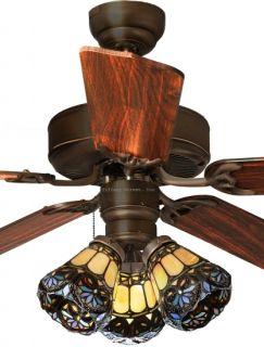 Scrolls 3 Light Tiffany Style Stained Glass Ceiling Fan