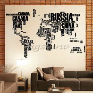 Letter World Map Quote Removable Vinyl Wall Art Decal Stickers Mural Home Decor