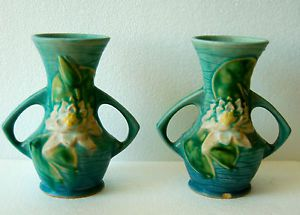 Two 2 Roseville Pottery 1940's Waterlily Green and Blue 2 Handled Vase 73 6""
