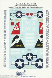 1 48 SuperScale Decals P 47D P 47C Razorback Bomber Formation Monitors