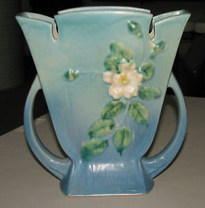 "Roseville Art Pottery White Rose 987 9"" Blue Handled Floral Vase 1940 Lovely"