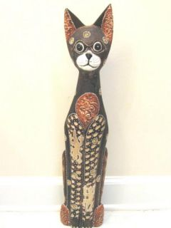Wooden Cat Hand Carved Hand Painted Wood Bali Home Decor Sculpture 8165