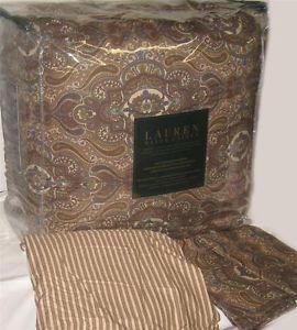 Ralph Lauren Colchester Cinnamon Paisley Queen Comforter Set New 1st Quality