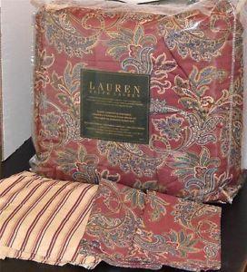 Ralph Lauren Rustic Red Paisley Queen Comforter Set New 1st Quality
