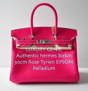BNIB Authentic Hermes Birkin 30cm Rose Tyrien Epsom Palladium Hot Pink Pink
