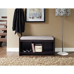 Entryway Storage Bench Finish Expresso Altra Cushion Cubbies Organizer Shoes