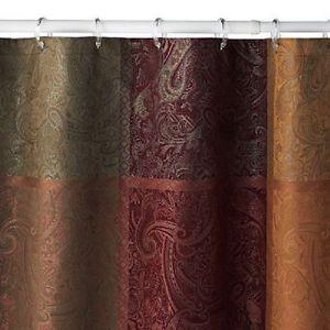 NOOP Croft Barrow Maroon Paisley Damask Shower Curtain