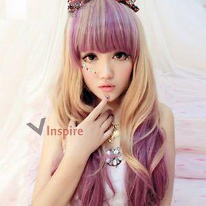 64cm Harajuku Long Curly Purple Mixed Blonde Fashion Wig with Bangs