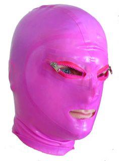 """Purple"" Latex Fetish Mask Rubber PVC Hood Wrestling"