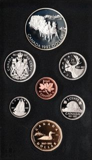 1992 Canadian 7 Coin Double Dollar Proof Set Stagecoach