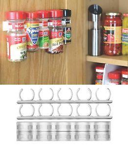 Spice Organizer Rack 20 Cabinet Door Clips Bottles Jars Wall Mount Kitchen Cook