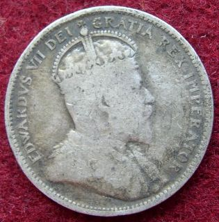 Canada Canadian Silver 25 Cents Coin Edward VII 1907