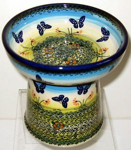 Polish Pottery Raised Cat Small Dog Dry Food Dish Kibble Bowl Sig WKM Flutterby