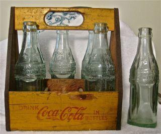 RARE Vintage Wood Coca Cola Bottle Carrier Crate with 6 Vintage Bottles