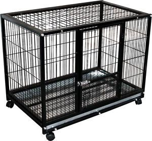 """37"""" Dog Kennel w Wheels Portable Pet Carrier Crate Cage Pet Cage 3"""