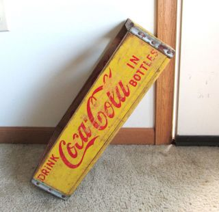 Vintage Coca Cola Yellow Coke Bottle Carrier Crate Wood Box 1966 Chattanooga TN