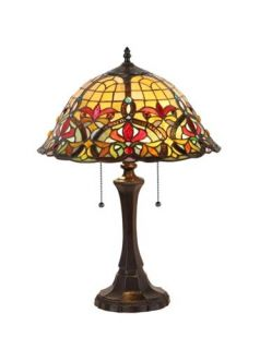 "Tiffany Style Stained Glass Victorian 2 Light Table Lamp 18"" Shade Handcrafted"