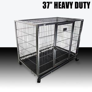 """37"""" Dog Kennel w Wheels Portable Pet Puppy Carrier Crate Cage Heavy Duty Metal"""