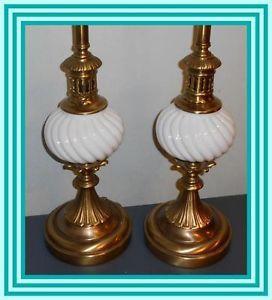 Fabulous Pair Vintage Tall Stiffel Brass Hollywood Regency Table Lamps Lamp