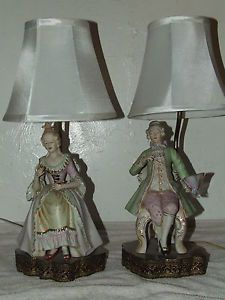 Vintage Pair of Victorian Figural Statue Porcelain Hand Painted Table Lamps
