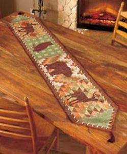 "72"" Woodlands Tapestry Table Runner Owl Bear Deer Lodge Cabin Table Linen"