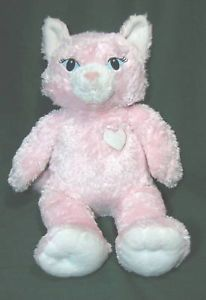 Build A Bear Workshop Pink Cat White Heart Plush Toy