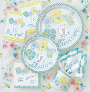 Boy Girl Unisex Baby Shower Party Pastel Stitching All Tableware Items Listed