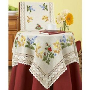 "NIP NOB Hill Linens Garden Array Table Runner Kit Stamped for Embroidery 14""X33"""