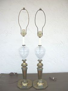 Vintage Antique Crystal Glass Brass Table Lamp Pair