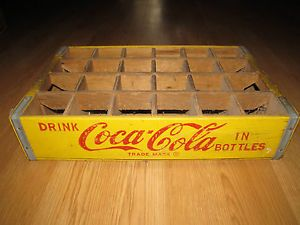 Yellow Coca Cola Coke 24 Bottles Crate Wooden Carrier Vintage