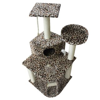 "New 47"" Navy Leopard Cat Tree Condo Furniture Scratch Post Pet House"